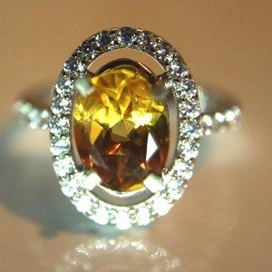 Jewelry - Citrine 1.62ct Platinum Finish Solid Silver Ring